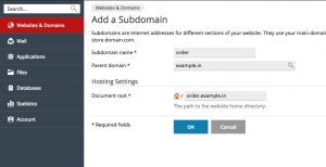 add subdomain plesk